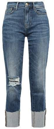 Le Nouveau Straight Cropped Distressed High-rise Straight-leg Jeans