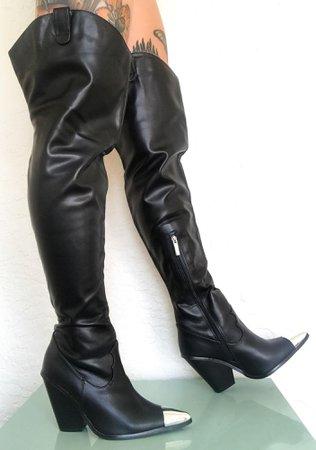 Steel Toe Vegan Leather Cowboy Boots