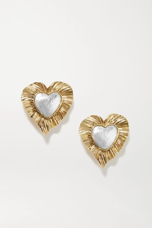 Gold Gold and silver-tone clip earrings | SAINT LAURENT | NET-A-PORTER