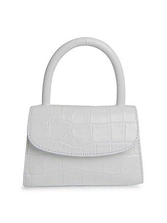 By Far Mini Croc-Embossed Leather Top Handle Bag   SaksFifthAvenue