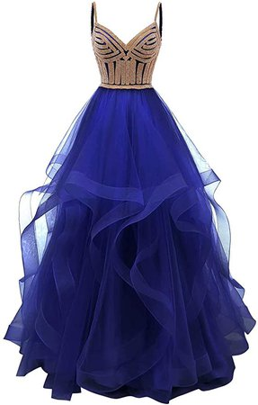 Amazon.com: Lilibridal Tulle Crystal Beaded Prom Dresses Tiered Formal Evening Dresses Spaghetti Strap Ball Gown(Black 2): Clothing