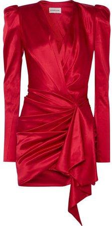 Asymmetric Silk-blend Satin Mini Dress - Red