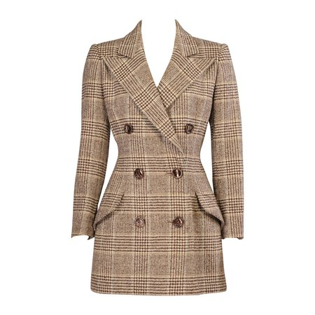 Patou Haute Couture Wool Plaid Jacket by Christian Lacroix, For Sale at 1stdibs