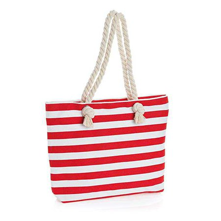 Amazon.com: Red and White Stripe Design Rope Handles Canvas Tote Bag Shopper Bag Shoulder Beach: Clothing