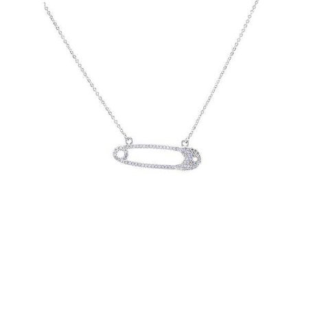 Fashiontage - Silver Crystal Safety Pin Necklace - 884004421693