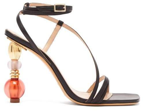 Bordighera Beaded Heel Leather Sandals - Womens - Black