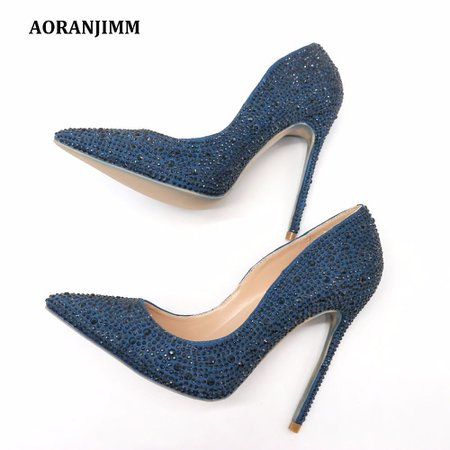 Woman Women Lady 2018 New Dark Blue Navy Crystal Pointed Toe High Heels Shoes Pumps Rhinestone Stiletto Heel Shoe Boots Sexy Shoes From Chengjianyun5633, $50.26| DHgate.Com