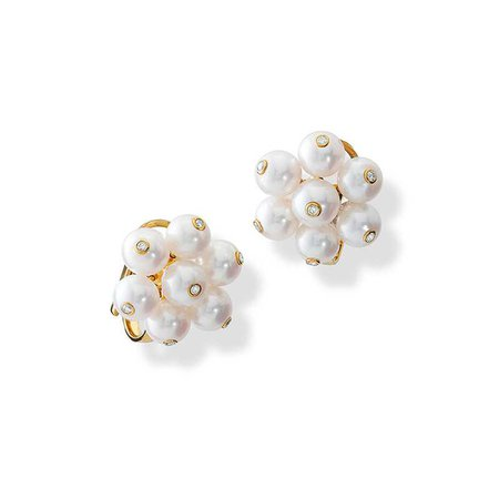 Cavolfiore Pearl and Diamond Yellow Gold Ear Studs