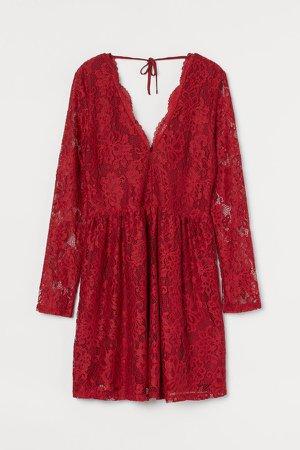 Lace V-neck Dress - Red