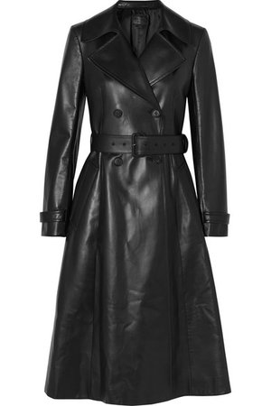 Prada | Double-breasted leather trench coat | NET-A-PORTER.COM