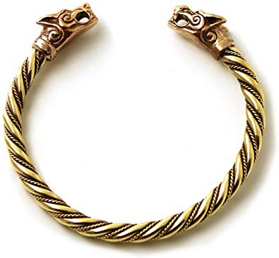 Amazon.com: LynnAround Bronze Norse Viking Fenrir Wolf Head Twisted Cable Bangle Cuff Bracelet Arm Ring Pagan Jewelry (7 Inches): Jewelry