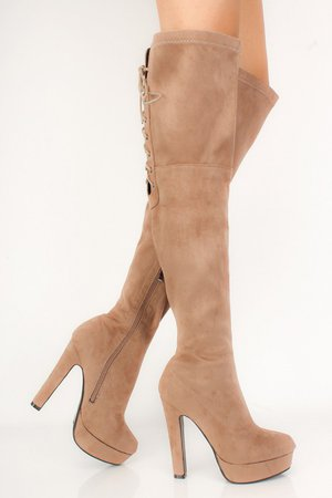 Taupe Thigh High Lace-Up Suede Platform Boots