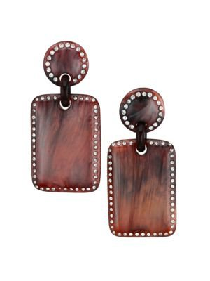 Lele Sadoughi - Blarney Acetate & Crystal Retangular Drop Earrings - saks.com