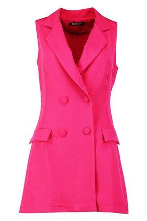 Petite Sleeveless Double Breasted Blazer Dress   Boohoo Pink