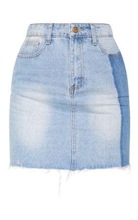 Light Wash Stripe Detail Mini Skirt   PrettyLittleThing