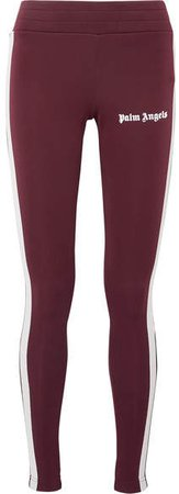Printed Striped Stretch-jersey Leggings - Burgundy