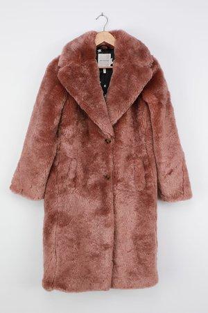 Avec Les Filles - Mauve Faux Fur Coat - Collared Longline Coat