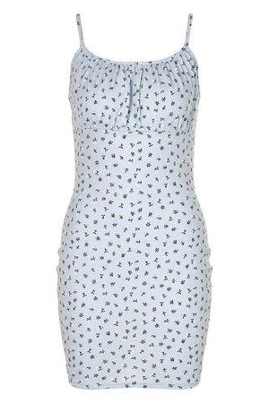 Ditsy Floral Rib Rouche Bust Mini Dress | boohoo