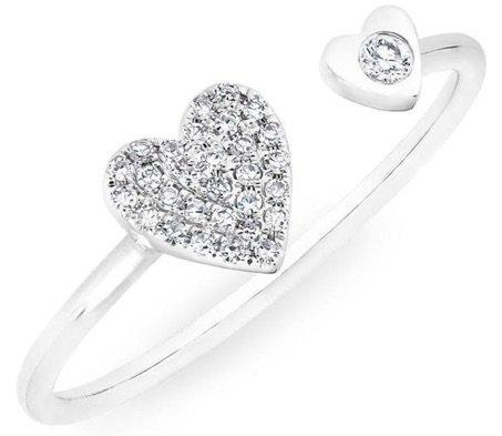 WHITE GOLD DIAMOND DOUBLE HEART RING