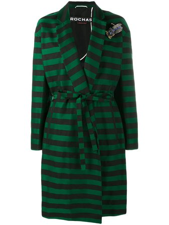 Shop green & black Rochas brooch embellished stripe coat with Express Delivery - Farfetch