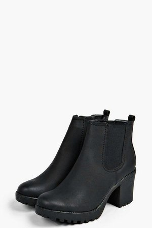 Chunky Cleated Heel Chelsea Boots | Boohoo UK