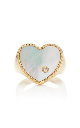 Yvonne Leon 9K Gold Diamond And Mother of Pearl Signet Ring
