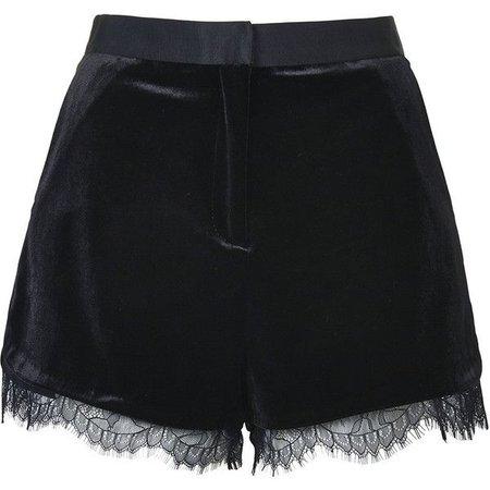 Black Velvet Lace-Trimmed Shorts
