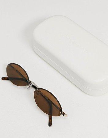Marc Jacobs slim cat eye sunglasses in brown   ASOS