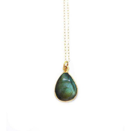Necklaces | Shop Women's Teardrop Labradorite Pendant Necklace at Fashiontage | dde0b2d8