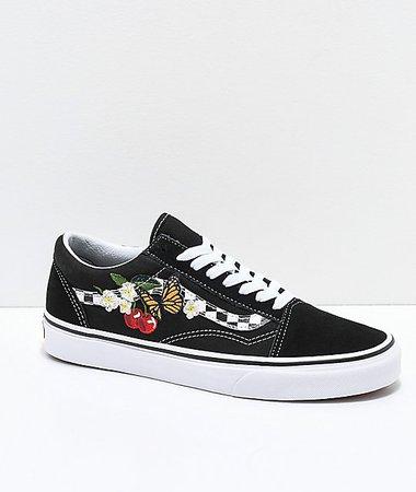 Vans Old Skool Black & White Checkered Floral Skate Shoes   Zumiez