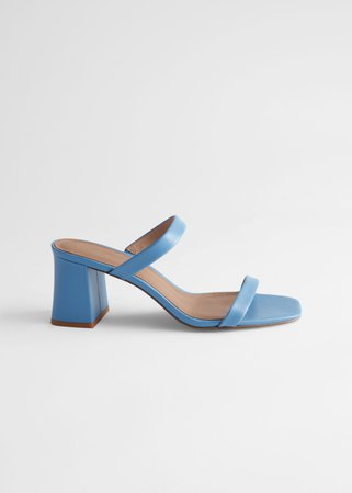 Duo Strap Leather Heeled Sandals - Blue - Heeled sandals - & Other Stories