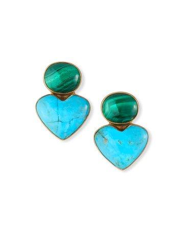 Dina Mackney Turquoise/Malachite Earrings