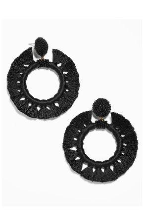 BaubleBar Adrita Beaded Tassel Hoop Earrings | Nordstrom