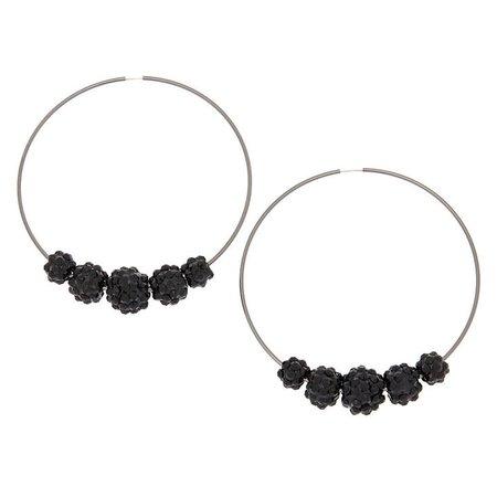Black 70MM Beaded Hoop Earrings   Claire's US