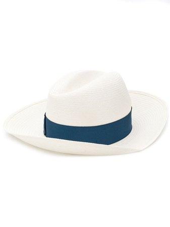 Borsalino blue straw hat