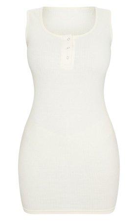 Shape Cream Rib Popper Detail Sleeveless Dress | PrettyLittleThing USA
