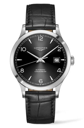 Longines Record Alligator Leather Strap Automatic Watch, 40mm | Nordstrom