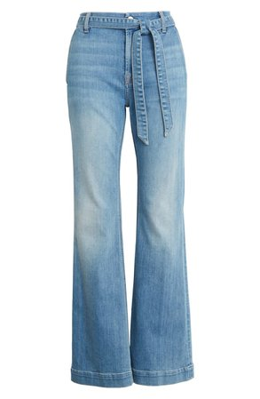 JEN7 by 7 For All Mankind Belted Flare Leg Jeans (La Quinta) | blue