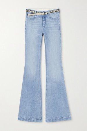 Salt & Pepper Belted Mid-rise Flared Jeans - Light denim
