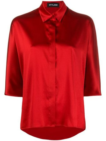 Red Styland Concealed Button Shirt | Farfetch.com