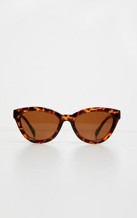 Brown Tortoiseshell Oversized Cat Eye Sunglasses   PrettyLittleThing