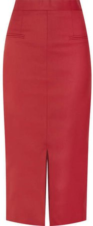 Cefinn - Stretch-twill Midi Skirt - Red