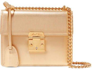 Zelda Textured-leather Shoulder Bag - Gold