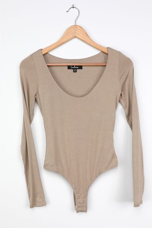 Scoop Neck Bodysuit - Long Sleeve Bodysuit - Taupe Basic Bodysuit