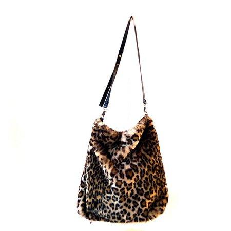 Vintage y2k leopard faux fur & vegan suede oversized tote bag | Etsy