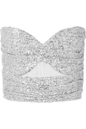 The Attico - Cutout Sequined Tulle Bustier Top