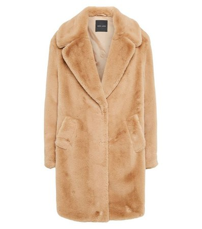Camel Faux Fur Longline Coat   New Look