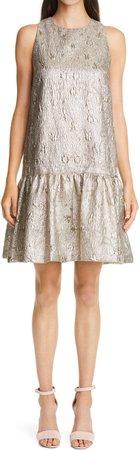 Flounce Hem Metallic Matelasse Dress