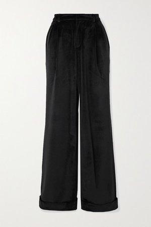 Gardel Pleated Velvet Straight-leg Pants - Black
