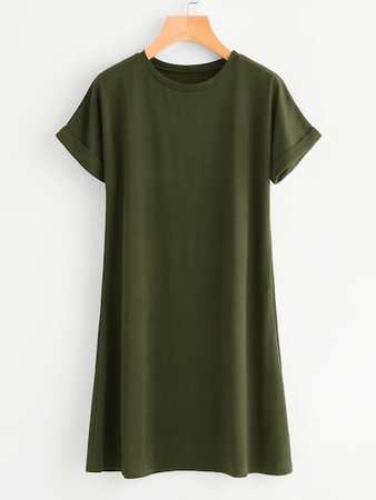 Olive green t-shirt dress